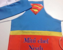 Kit Mini Chef avental chapéu Super man