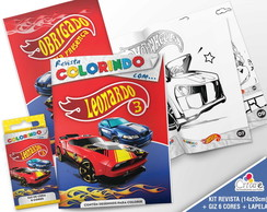 Kit Revista + Giz + Lapela - Hot Wheels