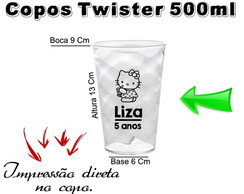 40 Copos Twister 500ml Hello kitty