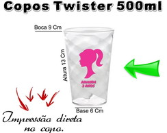 40 Copos Twister 500ml Barbie Rosa