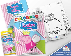 Kit Revista + Giz + Lapela - Peppa Pig 2