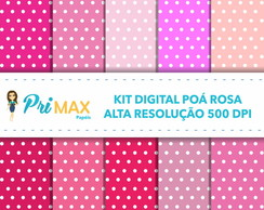 Kit Digital Poá Rosa
