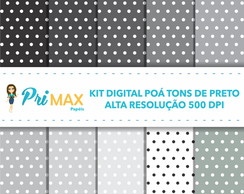 Kit Digital Poá Preto e Cinza