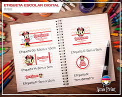 Etiqueta Escolar Digital Minnie Mouse