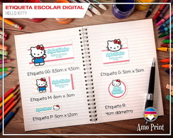 Etiqueta Escolar Digital Hello Kitty