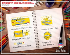 Etiqueta Escolar Digital Pokémon