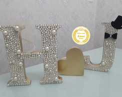 KIT LETRAS MDF DECORADAS COM PÉROLAS