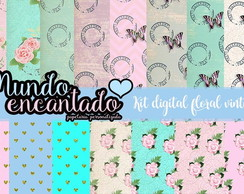 Kit digital floral vintage