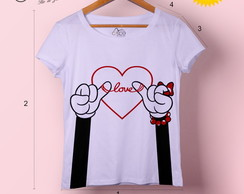 T-shirt feminina Minnie Laço Love