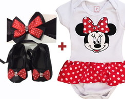 Body Sapatinho e Tiara Bebe Minnie