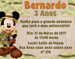Arte Digital Convite Mickey Safari