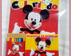 kit colorir Giz e Massinha Mickey Vermel