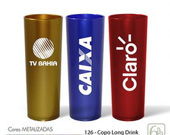COPO LONG DRINK METALIZADO 330ML PERSONALIZADO SERIGRAFIA