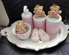 Kit de Higiene do Bebê Porcelana Rosa