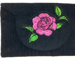 Clutch com Bordado Rosa LJ6