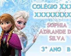 Arte Digital Etiqueta Escolar Frozen