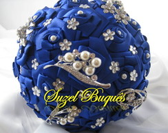 Buquê de Noiva Azul Royal 5 Broches