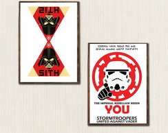 Kit com 2 Quadros Decorativos Star Wars