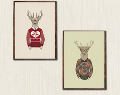Kit com 2 Quadros Decorativos Hipster