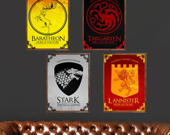 Kit com 4 Quadros Game Of Thrones