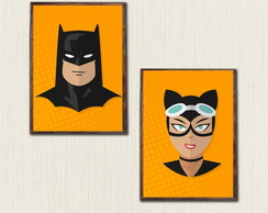 Kit com 2 Quadros Batman c Moldura