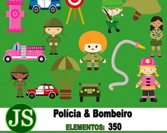 Kit Digital Scrapbook Policia e Bombeiro