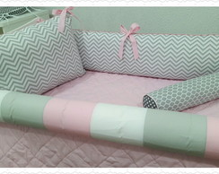 Kit berço Chevron Rosa 8 pcs