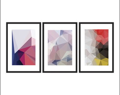 Trio de quadros Abstratos 40x60cm