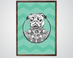Quadro Decorativo Pug Pop c Moldura A3