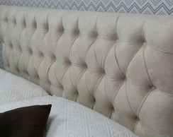 Cabeceira Capitone Vintage Bege 195 x 60