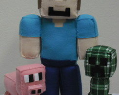 Kit - Personagens do Minecraft em Feltro