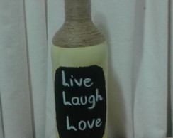 "Garrafa decorativa ""Live, Laugh and Love"