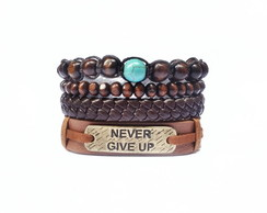 Mix de Pulseiras Never Give Up Macramê
