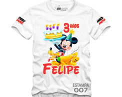 Camiseta Mickey Mouse Festa Infantil Personalizada