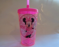 Copo c/ Canudo 500ml Minnie Rosa