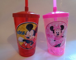 Copo Shake com Canudo 500ml de Mickey Minnie Rosa