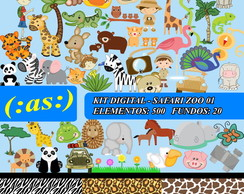 Kit Digital Scrapbook Safari Zoo Animal1