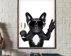 Quadro Decorativo Bull Dog c Moldura A3