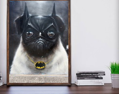 Quadro Decorativo Pug Batman Moldura A3