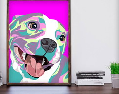 Quadro Decorativo Cão Pop Art Moldura A3