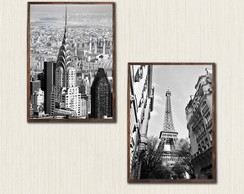 Kit 2 Quadros Paris e Nova York Moldura