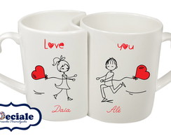 CANECA DUPLA PERSONALIZADA - LOVE YOU