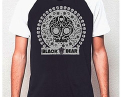 CAMISETA RAGLAN BLACK BEAR-MEXICAN SKULL