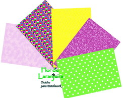Kit Tecidos Cores Lilas Patchwork 25x35