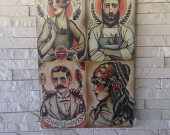 Placa Decorativa Barbearia 4x1