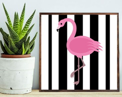 Quadro Decorativo Flamingo c Moldura QD