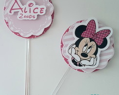 Toppers para Doces Minnie Rosa|10 unid.