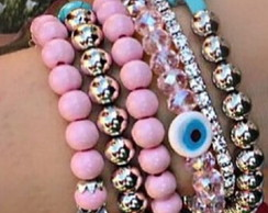 MIX 6 PULSEIRAS CANDY COLORS E STRASS