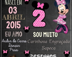 Arte Digital Chalkboard Minnie Rosa