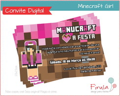 Convite Digital Minecraft Girl